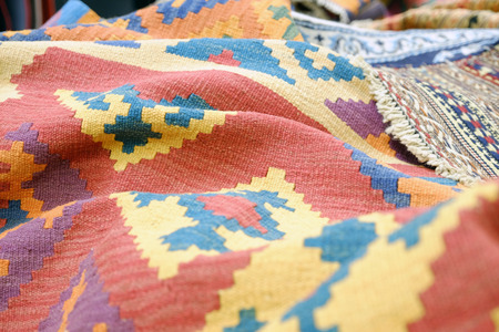 Colorful traditional Peruvian style, close-up rug surface. Textures. 版權商用圖片