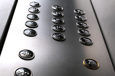 Tactile digit icons for the visually impaired. Elevator buttons. Selective focus close-up Stockfoto - 125108084
