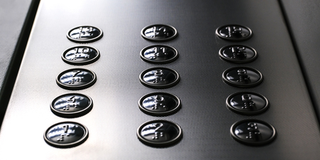 Tactile digit icons for the visually impaired. Elevator buttons. Selective focus close-up Stockfoto - 125111077