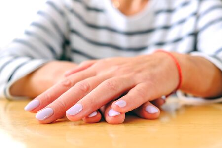 Manicure, neat nails business card girls 写真素材