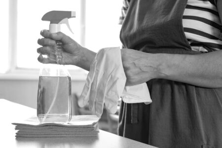Monochrome photography. Wipes and cleaning products in the hands of women. Hostess on the background of the living room