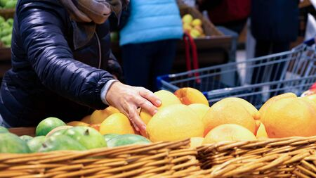 On the counter of the store fruit. A woman chooses a grapefruit. C. Trade food supermarket. Organic vegetables. Fresh ripe foods. Health Zdjęcie Seryjne