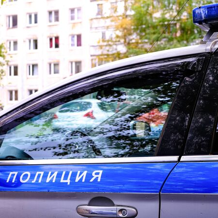 Police car. Russian patrol car, the inscription police