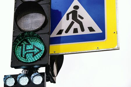 Modern design-road safety concepts. The concept of active life. Green traffic light. The concept of travel Zdjęcie Seryjne