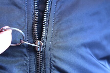 Zipper on jacket. Windbreaker jacket Zdjęcie Seryjne