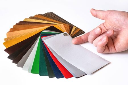 Presentation of samples. Samples for lamination. Multi-colored laminate. Color palette Zdjęcie Seryjne