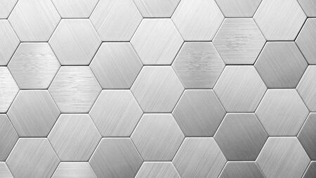 Abstract silver metal background. Geometric hexagons. Different color