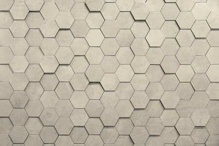 Geometric hexagons. Abstract silver metal background. Toning