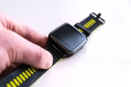 Fashion accessory. Smart watch, wearable gadget. Digital gadget. Communication network. The wearable computer. Smart watch isolated on a white background. Banco de Imagens