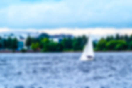 Blur the background. Sailing yacht of the famous French shipyard