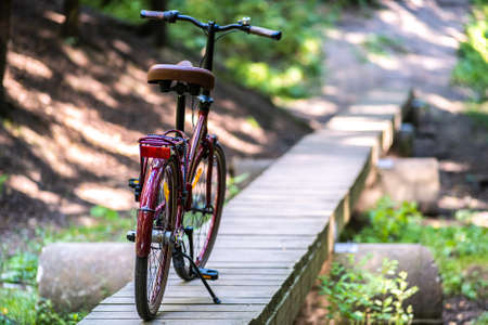 The bike is on the running Board. Wooden bridge over the ravine. A rest stop, the concept of a country holiday