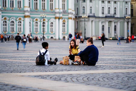 The city is full of tourists, people are walking around the city, the closing of the tourist season of St. Petersburg. Russia. October 1, 2020