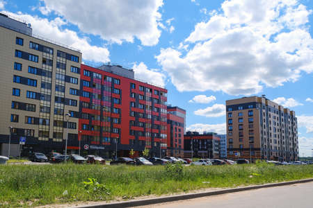 New neighborhoods of the city. Low-rise buildings with brightly colored facades. Saint-Petersburg. October 23 2020 Éditoriale