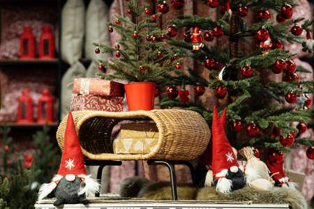 Christmas interior gifts near the Christmas tree. Merry Christmas. Christmas gift 版權商用圖片
