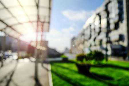 Background, blur, out of focus, bokeh. Beautiful Sunny city landscape, great design for any purpose. Open landscape Banque d'images