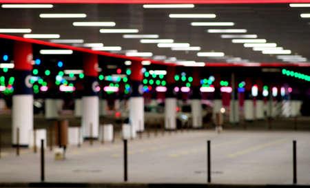 Background, blur, out of focus, bokeh. Light background. Underground parking Empty background scene