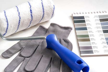 Catalog of samples of paint shades for home repairs. Design concept. Construction and repair.