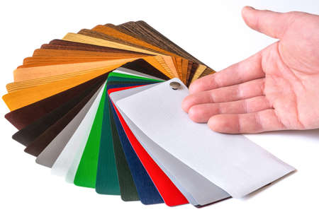 Catalog of shades for plastic profiles. Presentation of samples. Samples for lamination. Multi-colored laminate. Color palette
