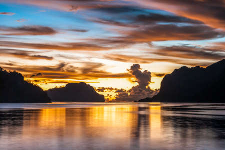nido: Sunset in amazing colours in El Nido Palawan island, Philippines