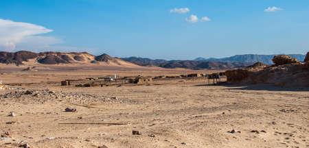 vadi: Small bedouin village in the desert with mountains, Sinai, Egypt Stock Photo
