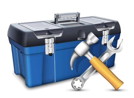 Skrzynka narzędziowa i narzędzia. Ilustracje wektorowe