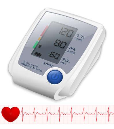 heart monitor: Blood Pressure Monitor.  Illustration