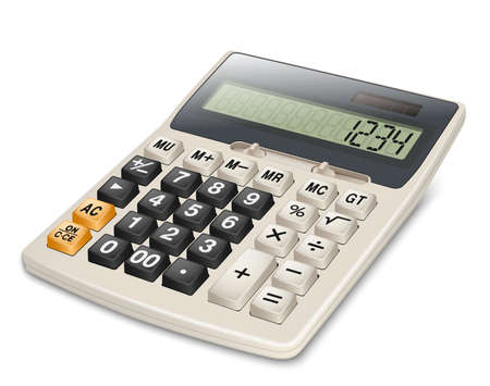 electronic devices: Electronic calculator isolated on white background.