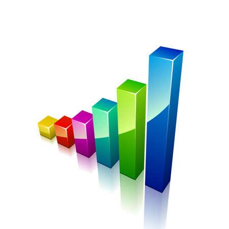 bar charts: Gráfico 3d crecimiento. Ilustración vectorial para el negocio Vectores