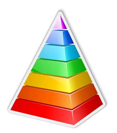 Color layered pyramid sticker. Vector illustration Vector