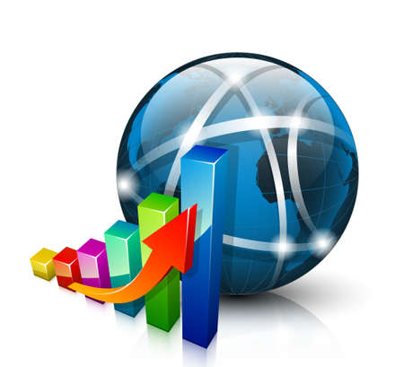 increase diagram: Stats icon. 3D graph growing up and abstract globe Illustration