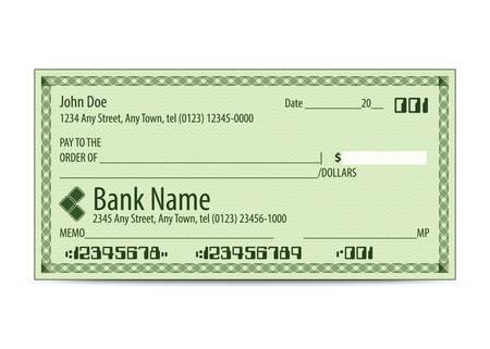 personal banking: Illustrazione vettoriale di assegno bancario in bianco