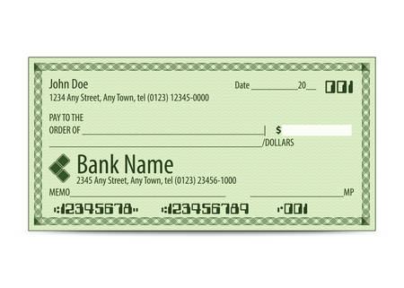 Vector illustration of blank bank check Иллюстрация
