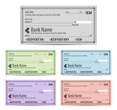 cuenta bancaria: Ilustración vectorial de cheques bancarios en blanco en diferentes colores