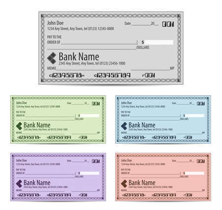 Vector illustration of blank bank checks in different colors Stock Illustratie