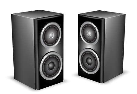 speaker icon: Two black audio speakers.