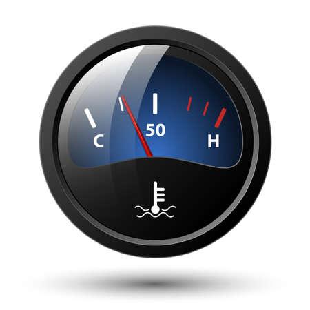 Motor temperature gauge icon. Vector illustration Ilustração