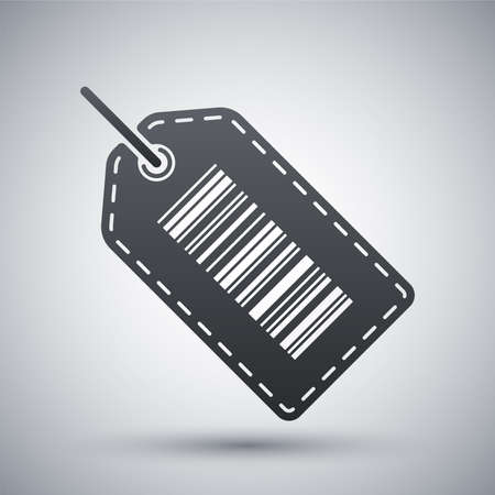 buy icon: Vector tag or label icon with barcode