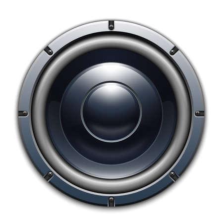 Audio icône haut-parleur isolé sur fond blanc Vecteurs