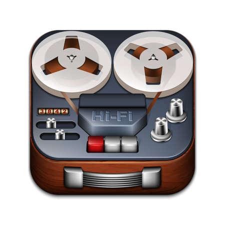 tape recorder: Carrete aplicación grabadora icono Vectores