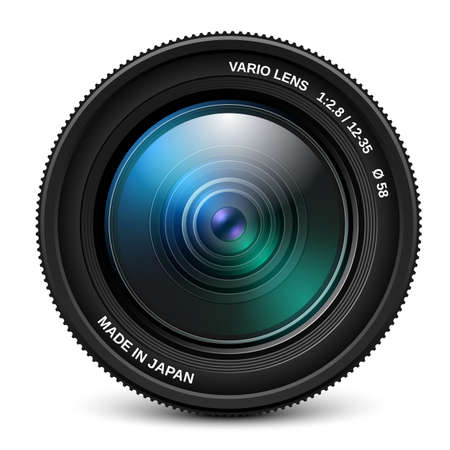 looking at camera: Camera lens isolated over white, vector illustration