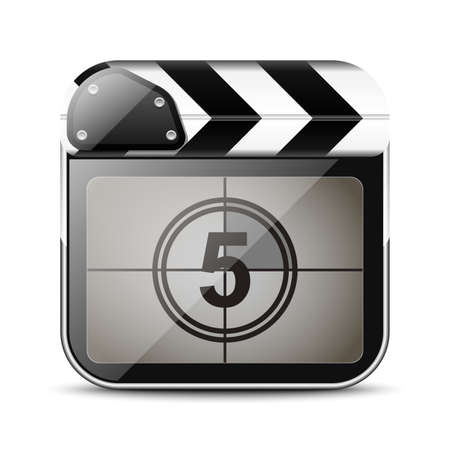 clap board: Clap board icon with countdown Illustration