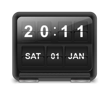 analog clock: Analog flip clock vector Illustration