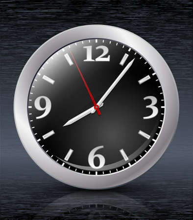 beep: Analog clock icon on dark metal backgroung