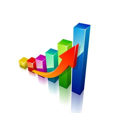 contabilidad financiera cuentas: Flecha 3d y gráfico crecimiento. Ilustración vectorial
