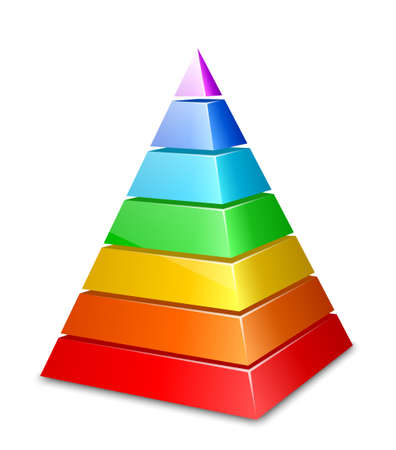 three dimensions: Color layered pyramid. Vector illustration Illustration