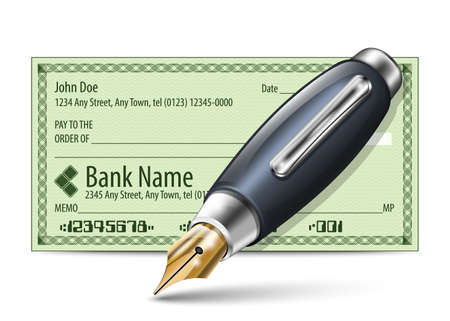 bank check: Vector illustration of blank bank check and fountain pen