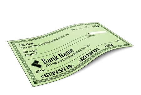 bank check: Vector illustration of blank bank check with shadow on white background