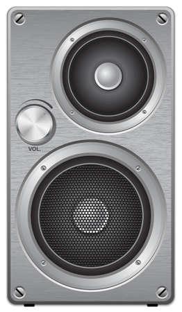 Aluminium two way audio speaker, vector Illustration
