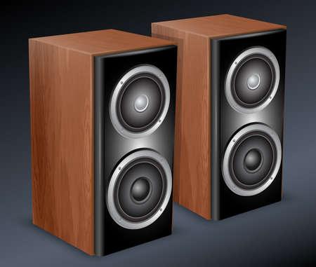Wooden audio speakers. Vector illustration Illustration
