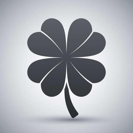 fourleaf: Four-leaf clover icon, vector